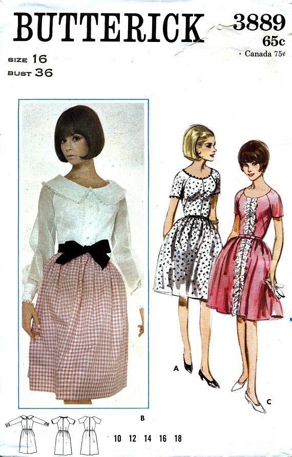 Butterick 3889 Vintage 60s Sewing Pattern for Misses\' Dress - Uncut ...