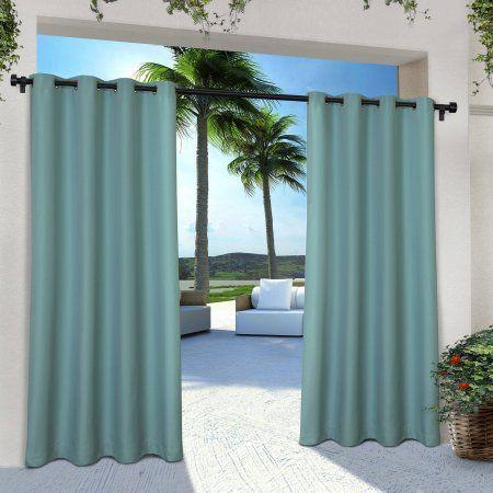 Indoor/Outdoor Solid Cabana Grommet-Top Window Curtain Panels, Set of 2, Blue