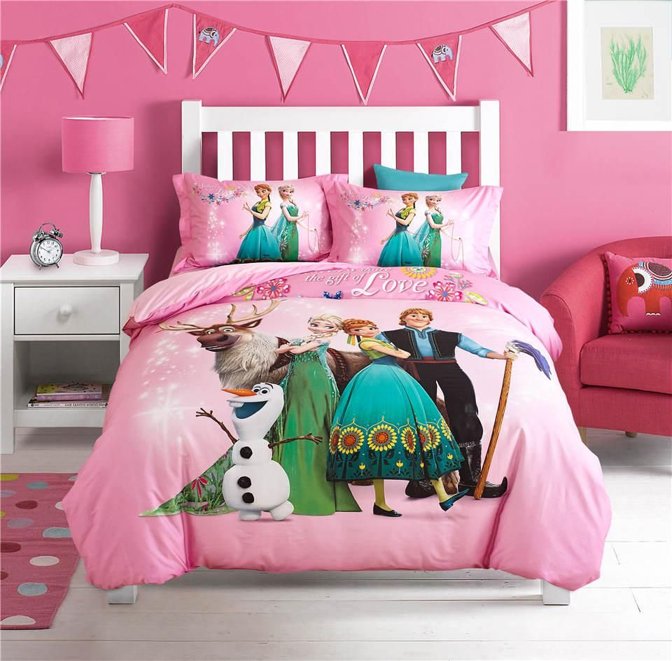 Elsa and anna disney cartoon  printed bedding set for girls bedroom decor cotton bed duvet cover single twin full queen pink also rh pinterest