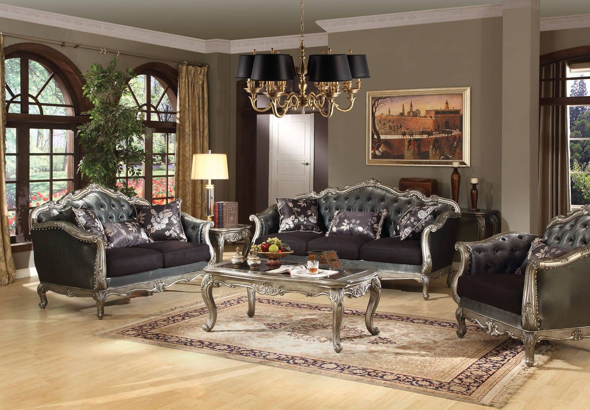 Chantelle Standard Platinum Silver Gray Fabric Wood Living Room Mesmerizing Wooden Living Room Set Design Decoration