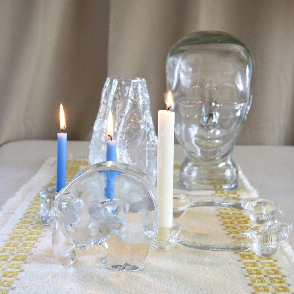 crazy about vintage glass! featured: glass candelabra, glass tree vase, glass candle holders, and glass bear paperweight!