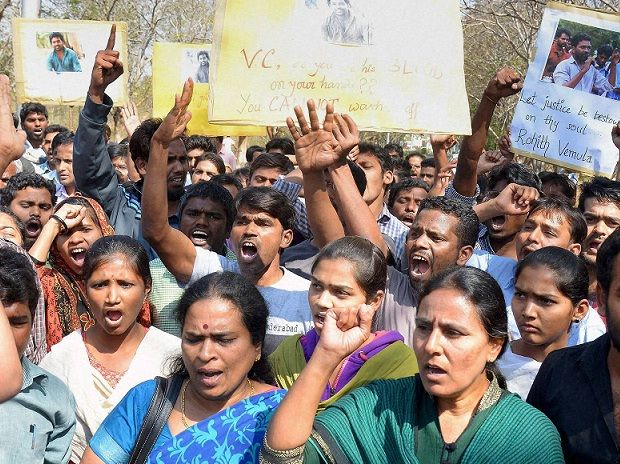 Students staging a protest over the death of Rohith Vemula, a doctorate student at the Hyderabad Central University who was found hanging in a hostel room, in Hyderabad on Monday. PTI Photo