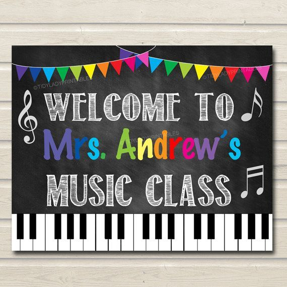 Music Teacher Classroom Door Sign, Printable Classroom Decor, Custom Teacher Sign, Back to School,