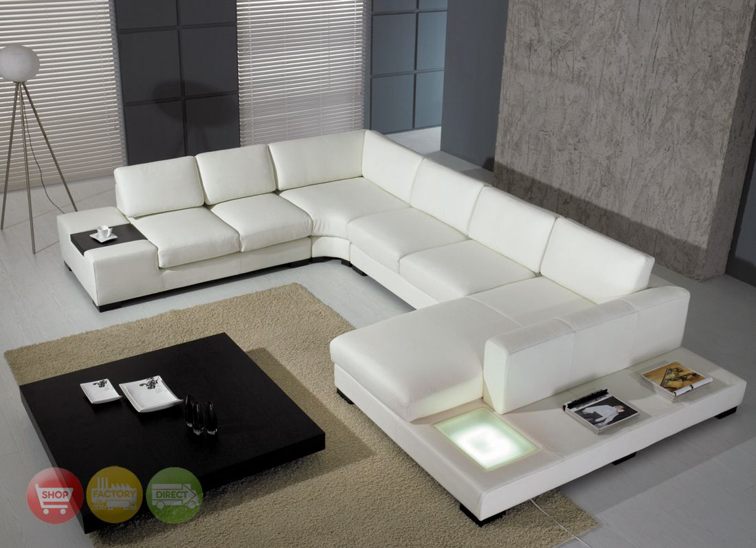 Modern White Bonded Leather Sectional Sofa T35 Contemporary Living ...
