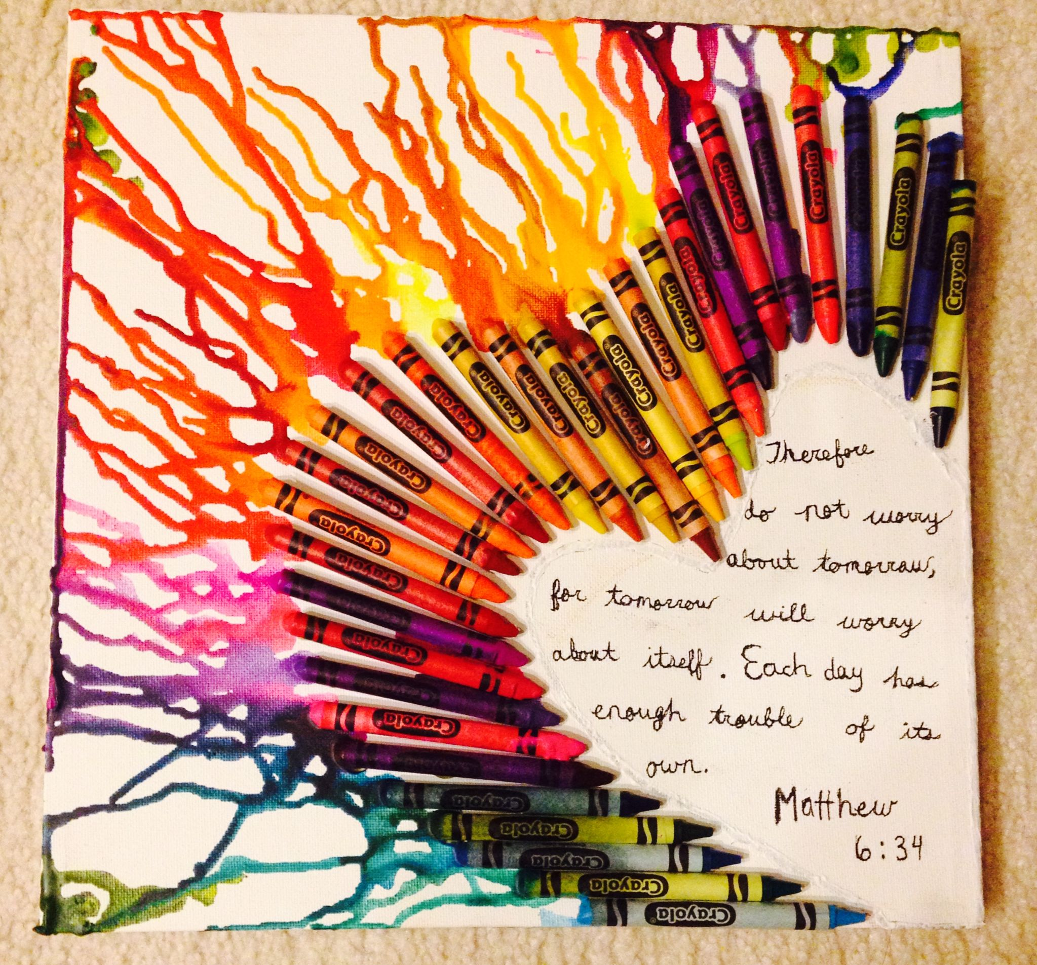 color crayon art : Diy Crayon On Canvas Art I Super Glued Crayons To The Canvas Then Blow
