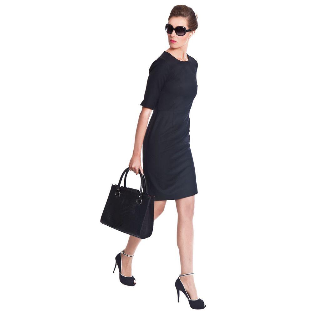 Black dress office - Touran Black Business Dress By Nooshin Black Work Dress Office Wear For Women
