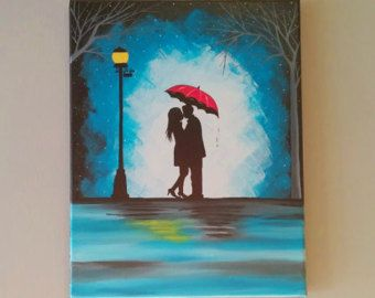 Original Couple Kissing In The Rain Wall Artcouple With Red Umbrella Paintingcouple Silhouette PaintingKiss ArtBirthday Gift For Her
