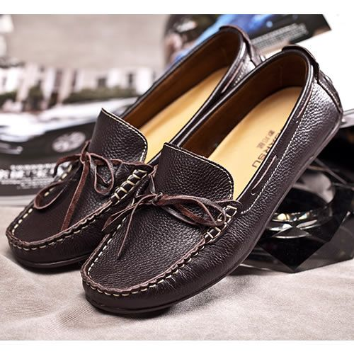 Men Chocolate Brown Leather Wedding Prom Casual Dress Moccasins Shoes SKU-1100179