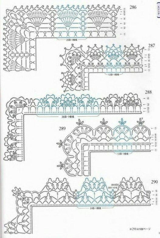 Edgings | crochet pattern - szydelkowe wzory | Pinterest | Ganchillo ...