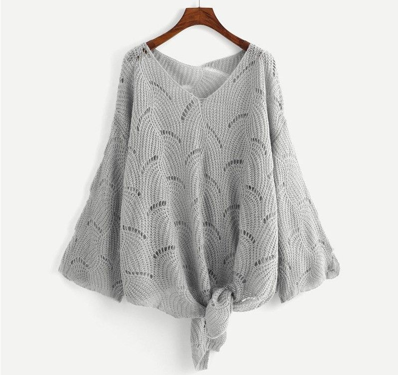 Gray Women Sweater Knitted Hollow Out V Neck Casual Bow Pullover