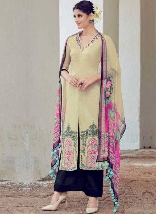72395a6fb8 Beige Navy Blue Embroidery Work Print Pakistani Cotton Palazzo Designer Suit  http://www