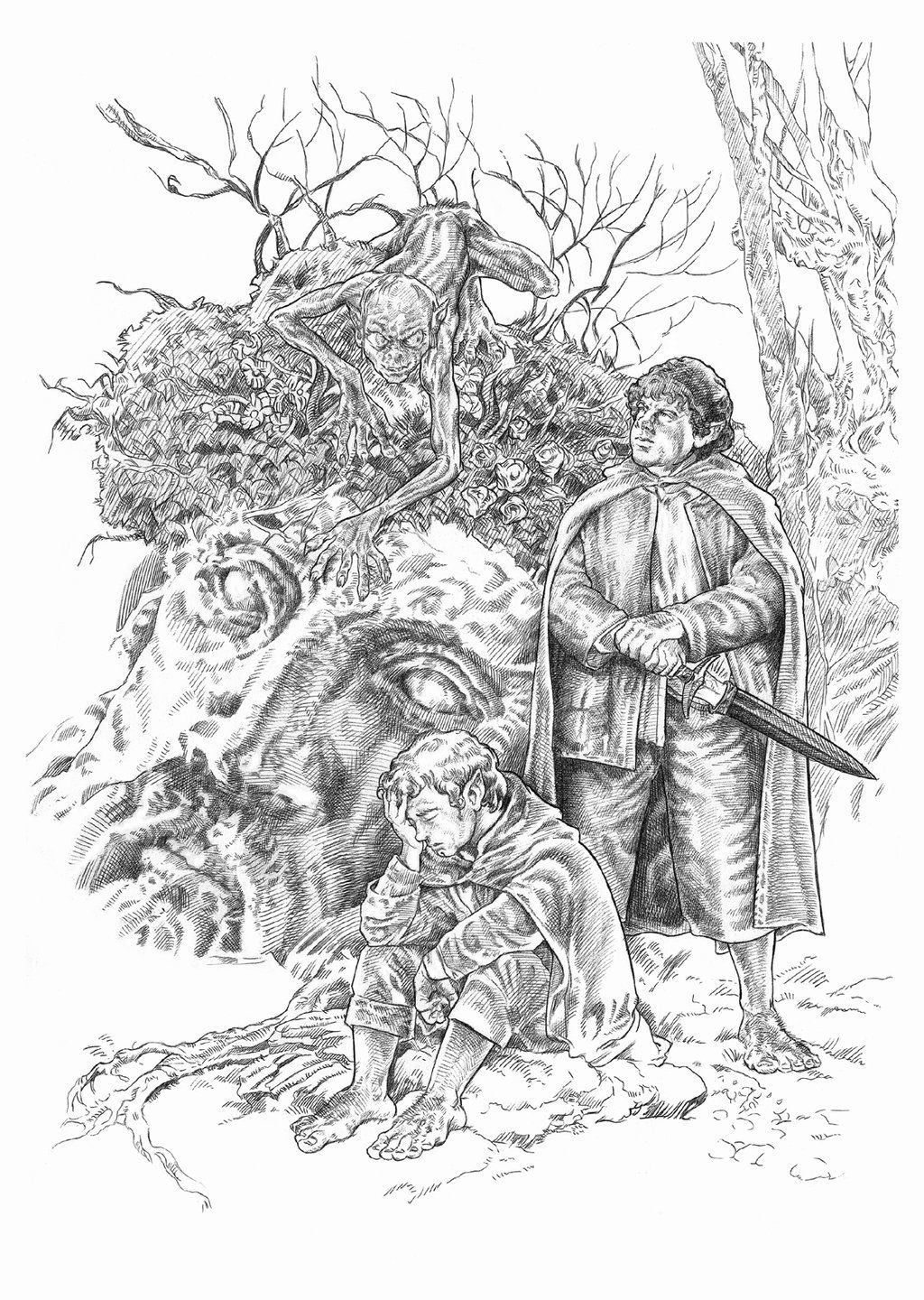 Frodo Y Sam By Nachocastro Deviantart Com On Deviantart Gollum Frodo And Sam From Lord Of The Rings Coloring Pages Colorful Drawings Coloring Books