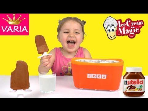 Девочка Варя готовит шоколадное мороженное из нутеллы Видео для детей