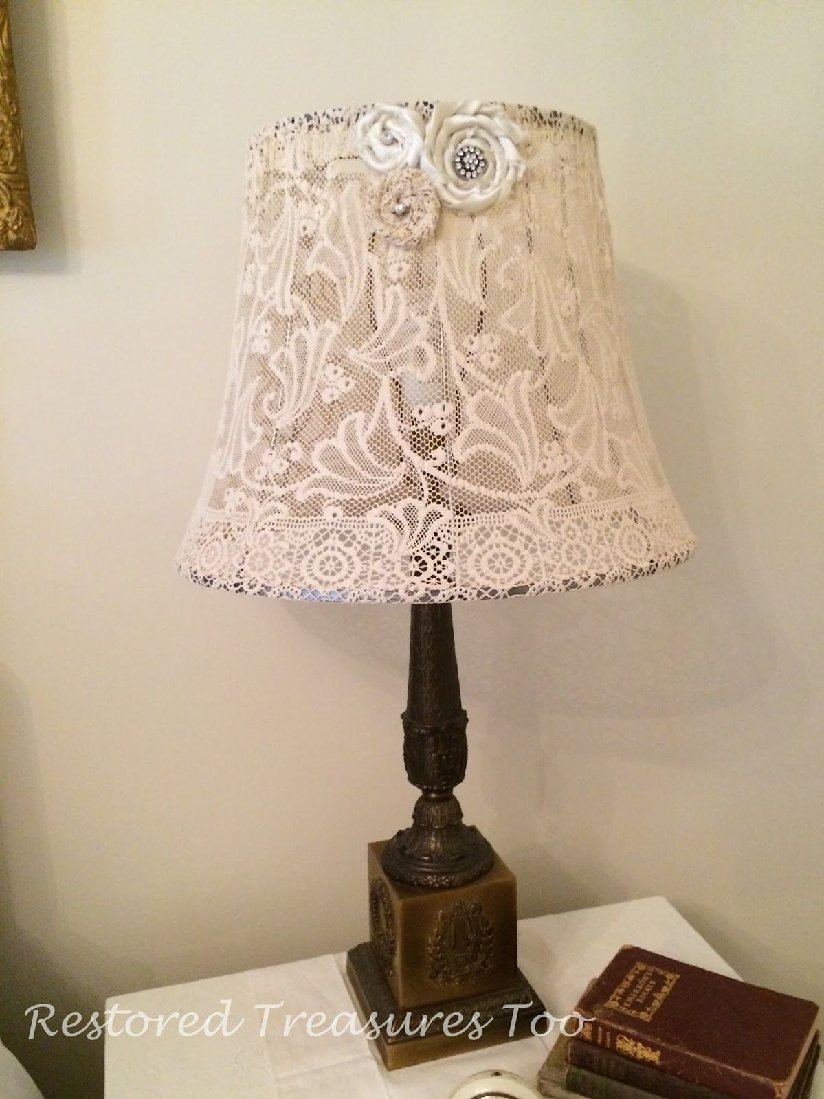 Restored Treasures Too: How to recover a lampshade with old lace ...