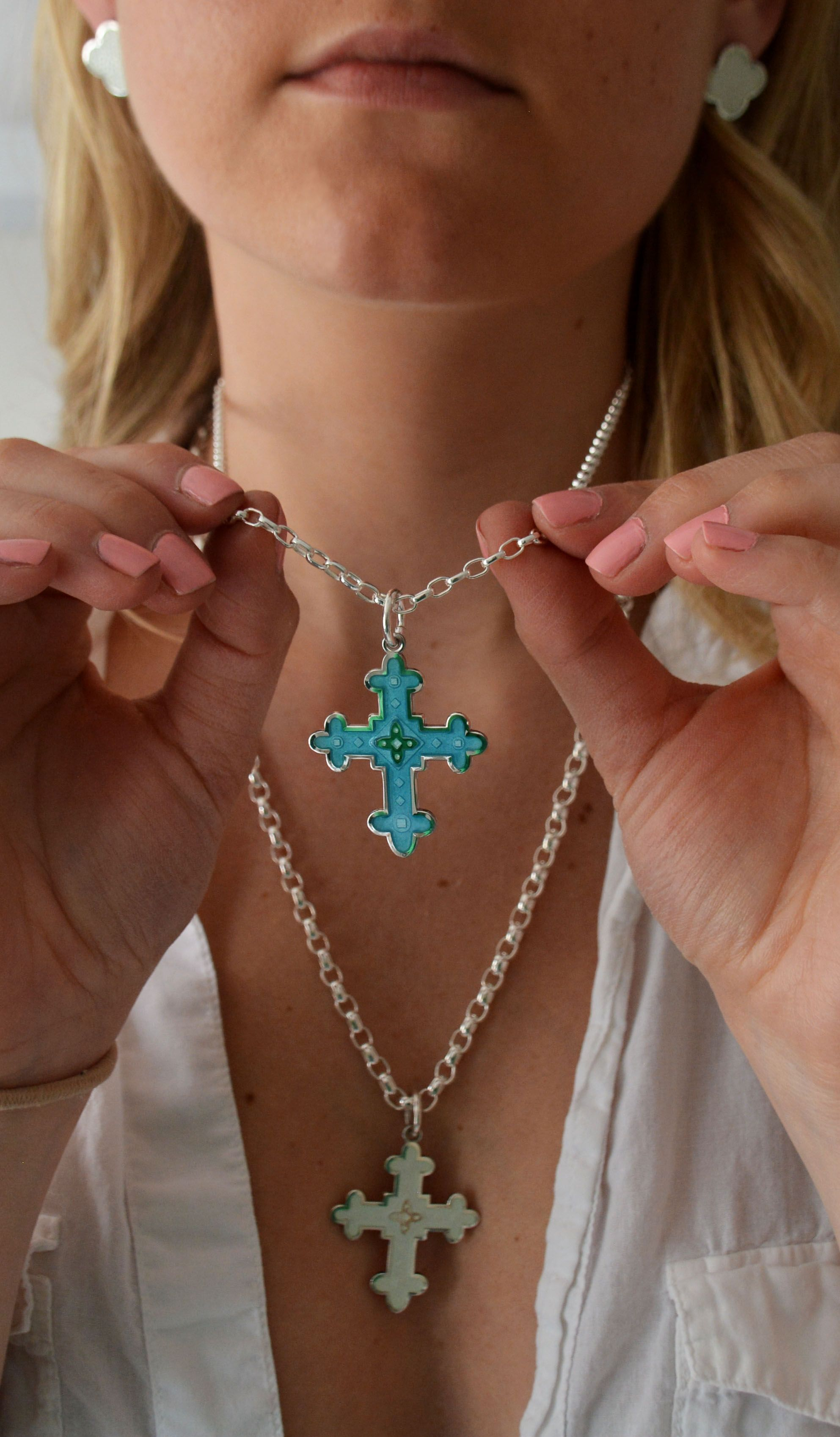 Colby Davis Byzantine Cross Pendant Glass Enamel And Sterling Silver 100 Made In Usa In 2020 Cross Pendant Pendant Jewelry