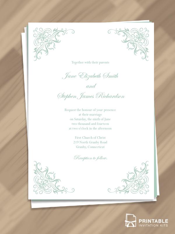 Printable PDF Templates - Simple, Classy Border We… | Wedding ...