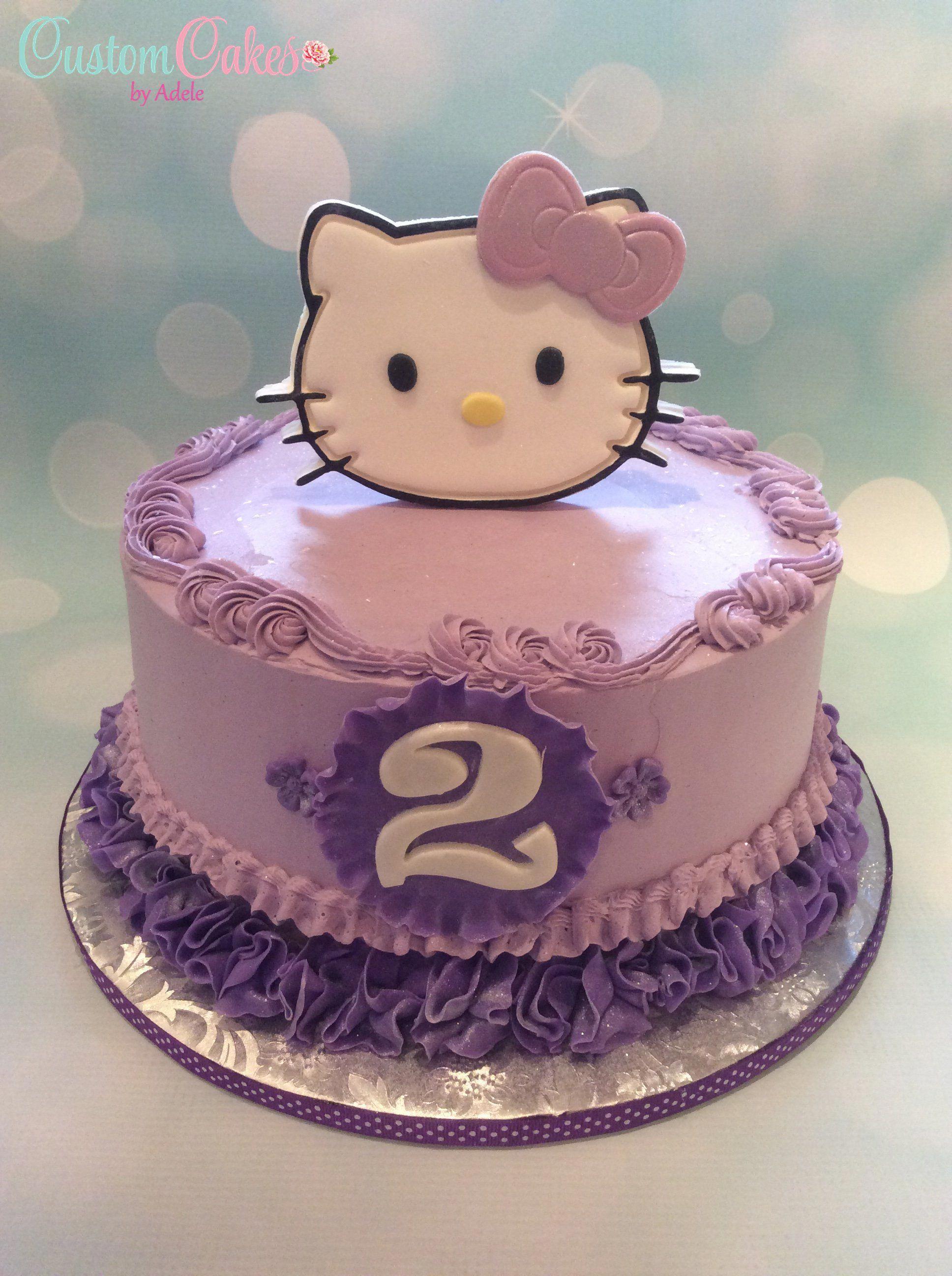 Hello Kitty Cake In Purple Birthdaycakesforcats Hello Kitty Birthday Cake 2nd Birthday Cake Girl Birthday Cake For Cat