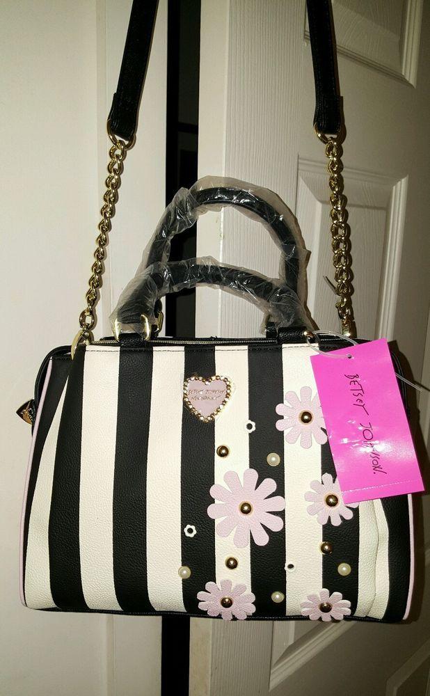 Betsey Johnson Crossbody Black Pink Shoulder Handbag W White Gold Flower