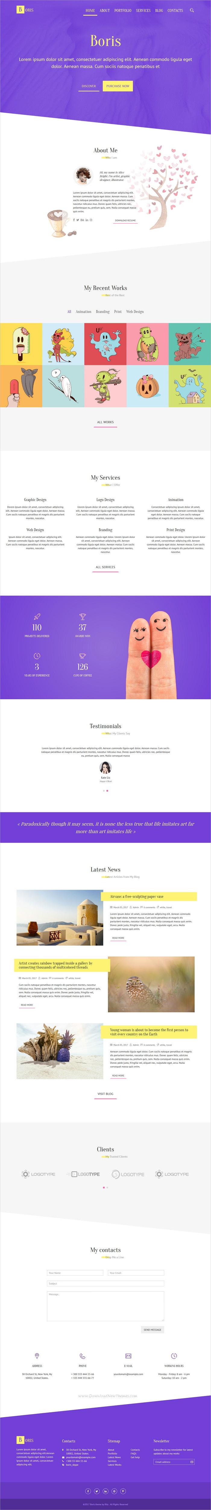 Boris Creative Portfolio HTML Template (With images