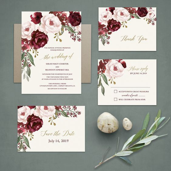 Fall Wedding Invitations Burgundy Wine Gold Blush Floral Wedding