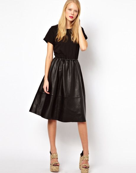 The leather midi skirt | My Style | Pinterest | Leather, The o ...