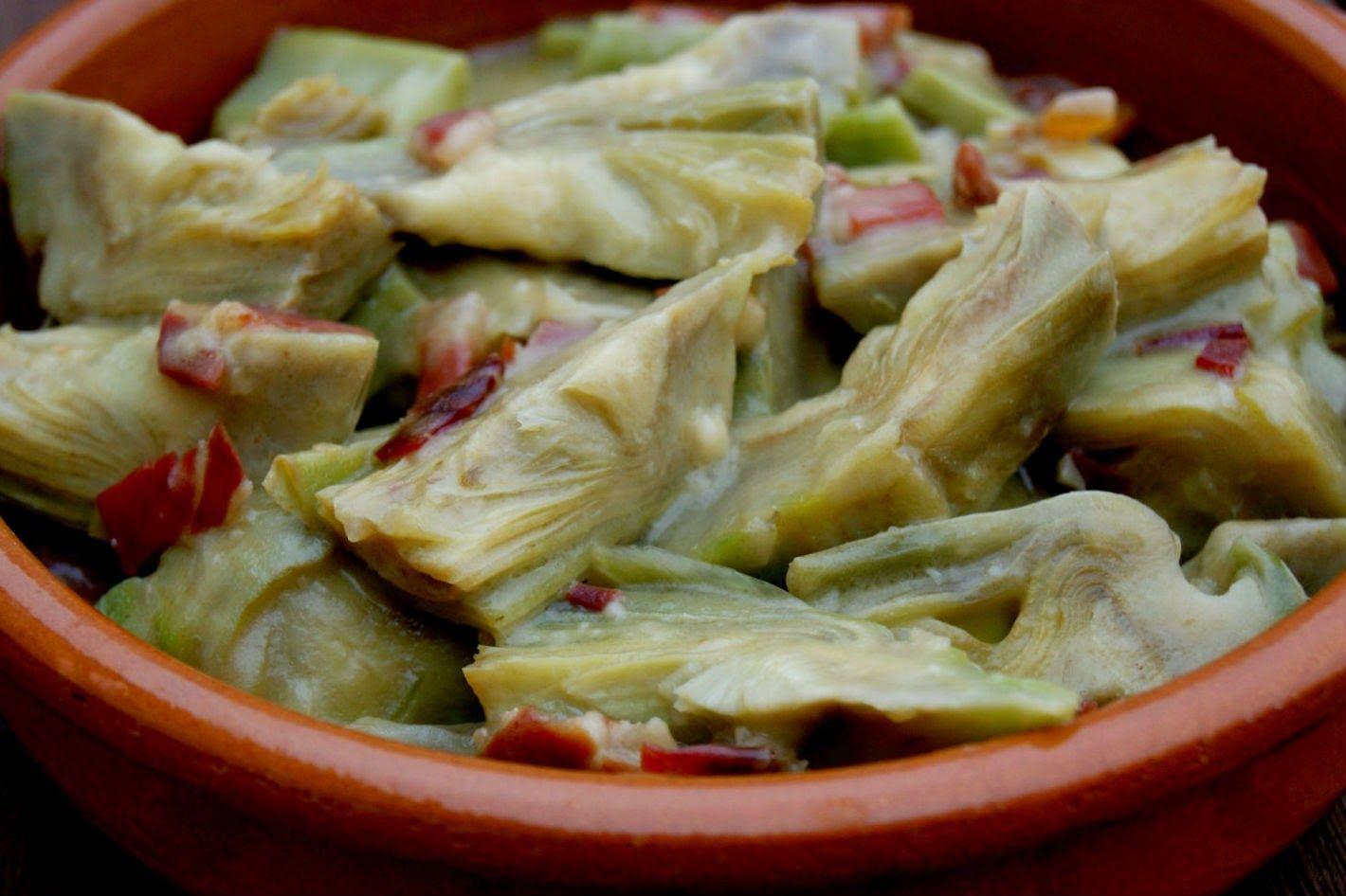 Anna recetas fáciles: Alcachofas con jamón