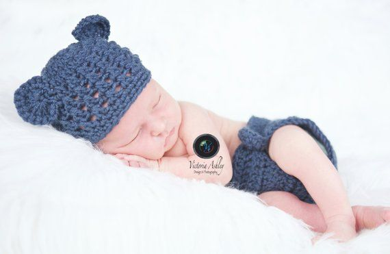 dc7348cee92 Baby Bear Hat and Diaper Cover Outfit