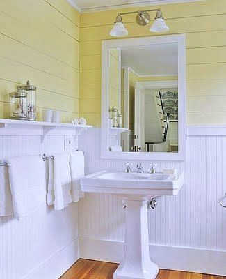 Bathroom With Chair Rail Lovely Brabourne Farm That Sinking Feeling White Wainscotting And Yellow Yellow Bathroom Tiles Yellow Bathrooms Beadboard Bathroom