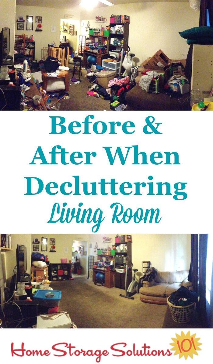 Before And After When Decluttering Living Room {on Home Storage Solutions  101} #Declutter365