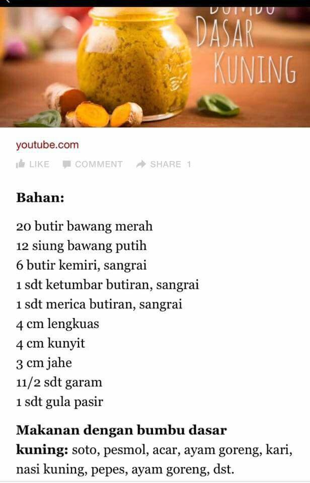 Bumbu Dasar Kuning Resep Masakan Sehat Resep Makanan Asia Masakan Indonesia