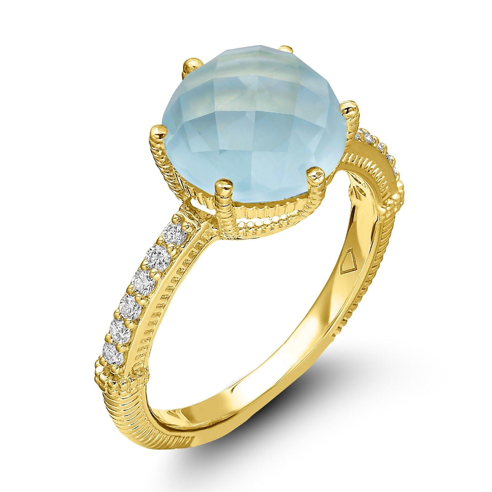 Judith Ripka 18KYG Flora Checkboard Frosted Blue Topaz Ring Judith