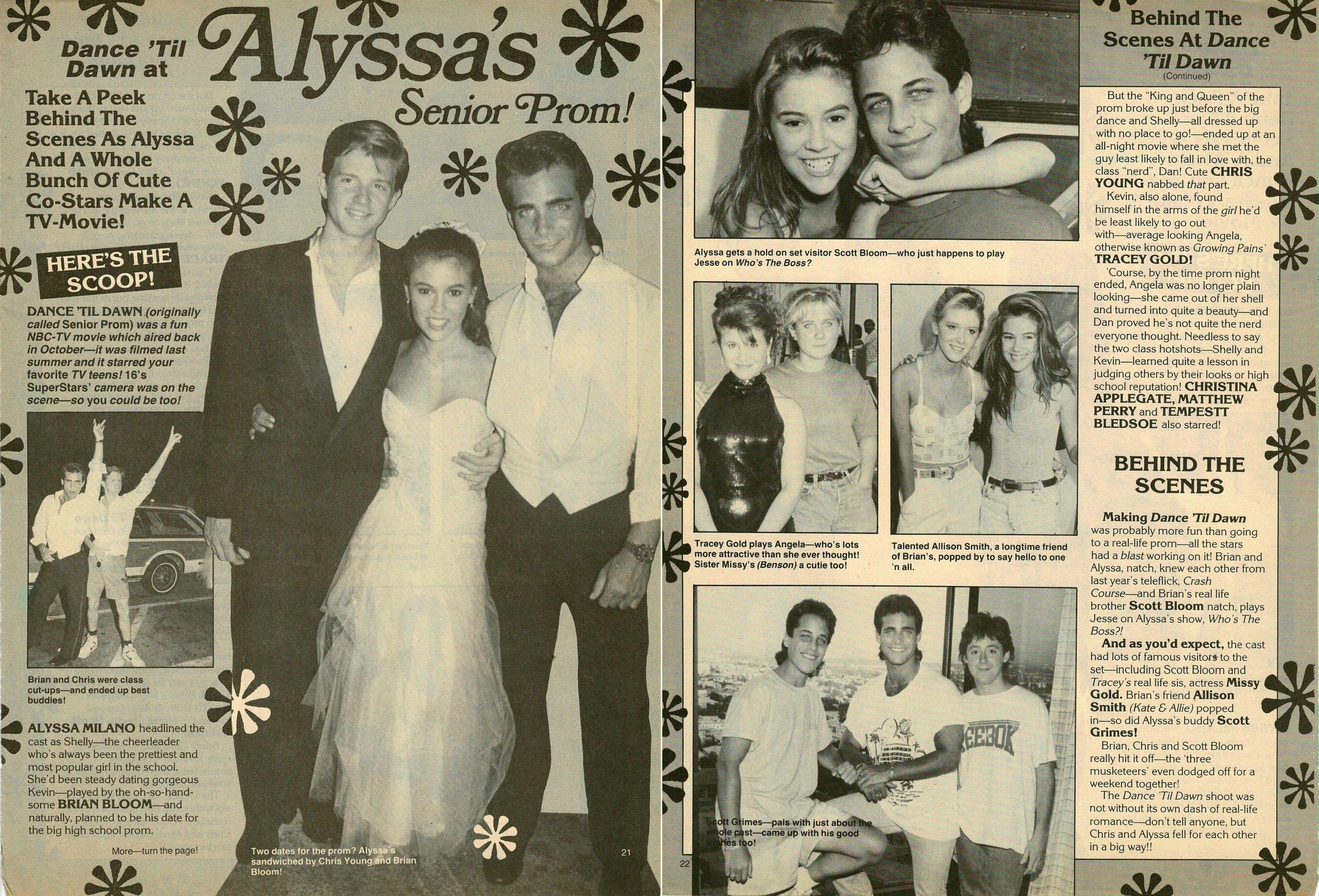 Alyssa Milano Movie Scenes behind the scenes article, in 16 superstars magazine, of