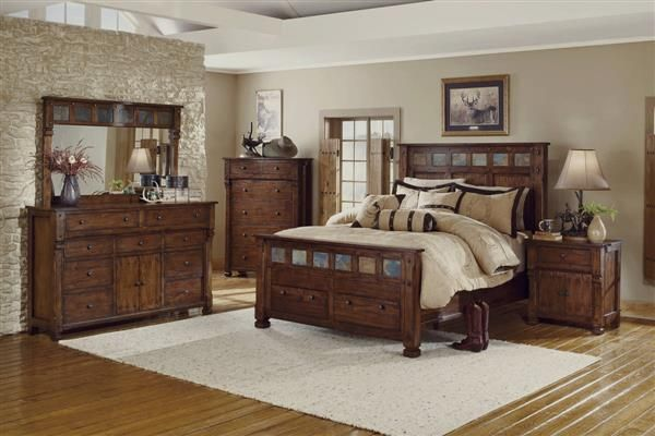 Santa Fe Dark Chocolate Wood Storage Master Bedroom Set ...