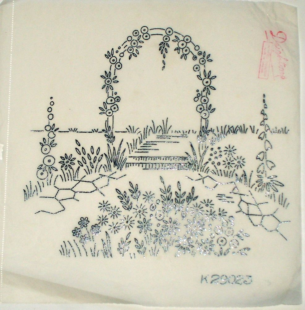 Vintage deighton embroidery transfer rose flower arch for Garden embroidery designs free