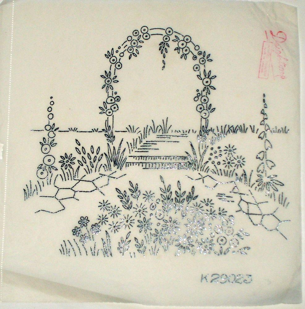 Vintage deighton embroidery transfer rose flower arch garden scene