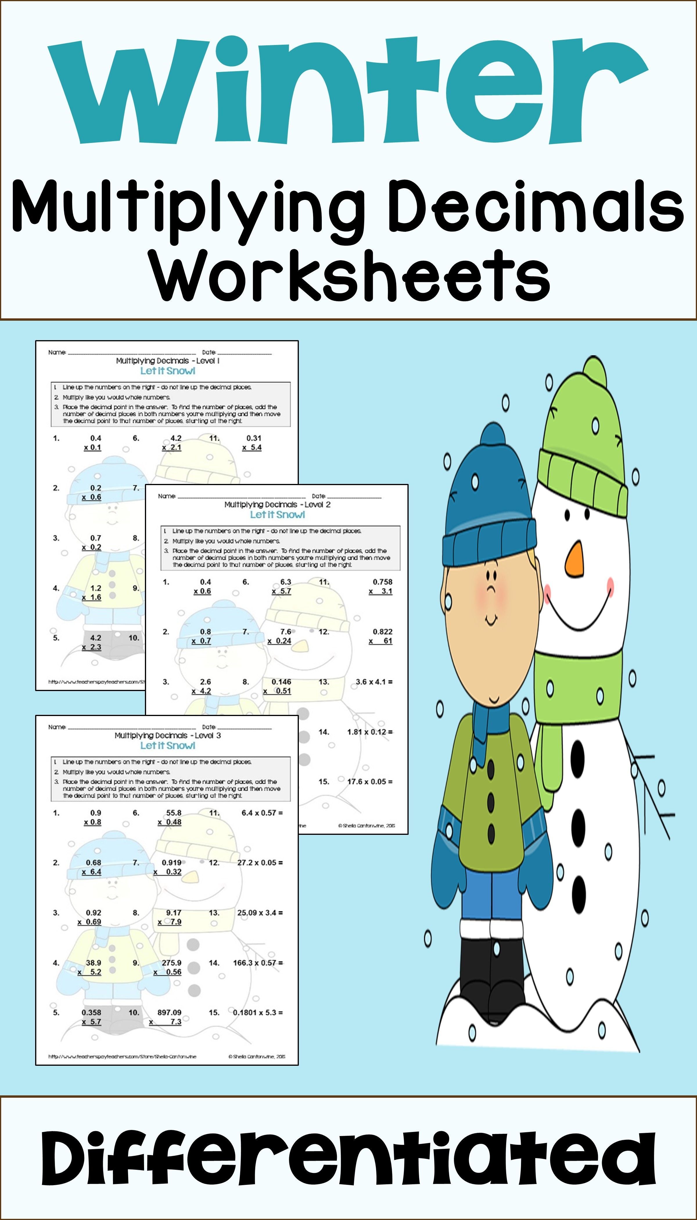 Winter Math: Multiplying Decimals Worksheets (Differentiated)