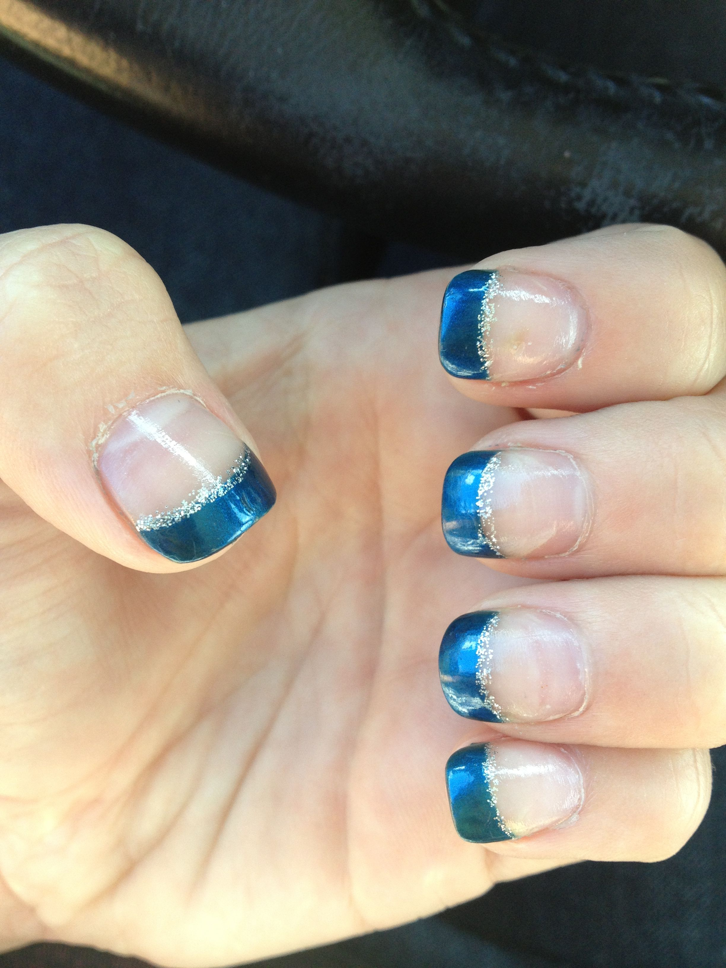 Acrylic nails, teal-ish, grey sparkle lining, French tips, cute from QT nail salon   Nail
