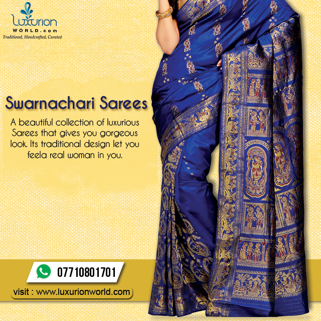 A Beautiful Collection Of Luxurious Sarees To Give You Gorgeous Look Visit Http Www Luxurionworld Com Baluchari Saree Real Women Saree Blouse Designs