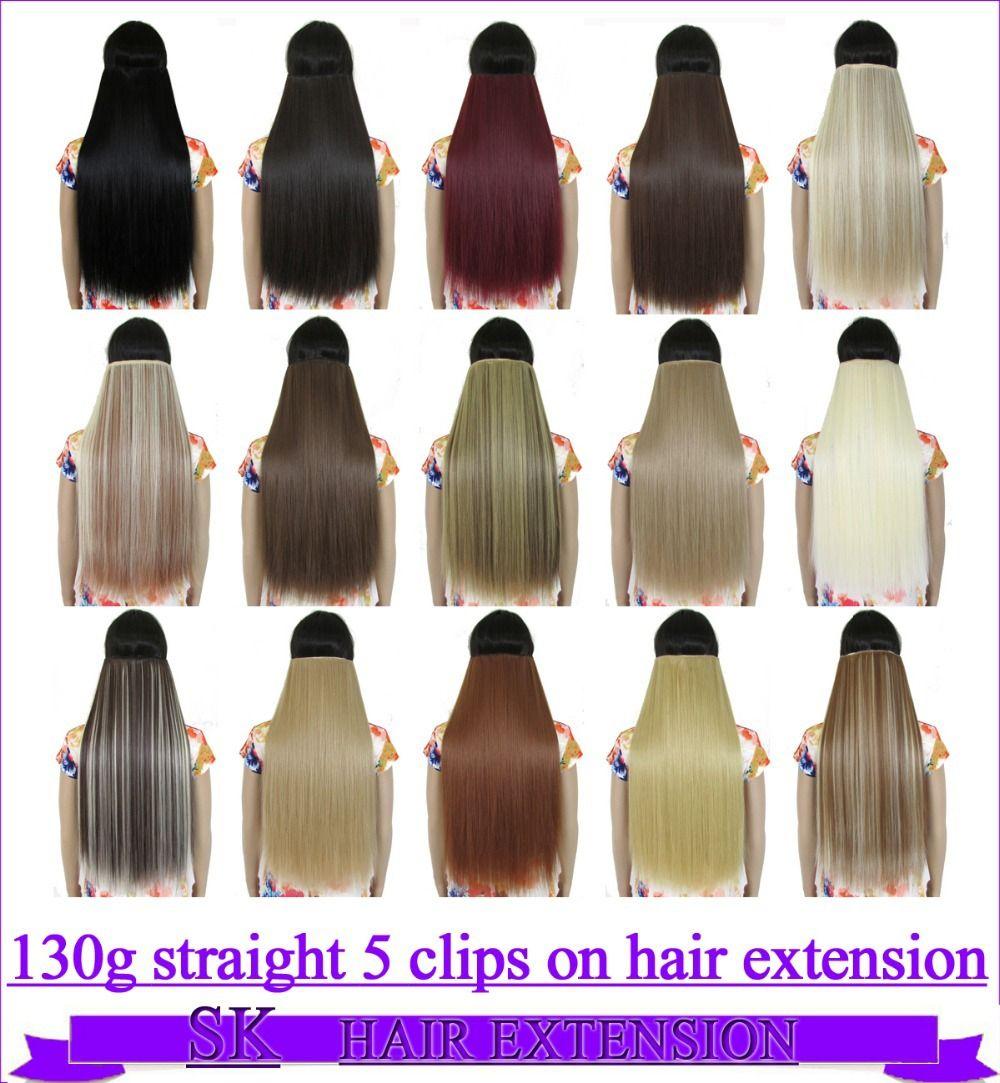 """24 """"(60 cm) 130g gerade 5 clips auf haarverlängerung heißer faser clip in haarverlängerungen 30 farben erhältlich"""