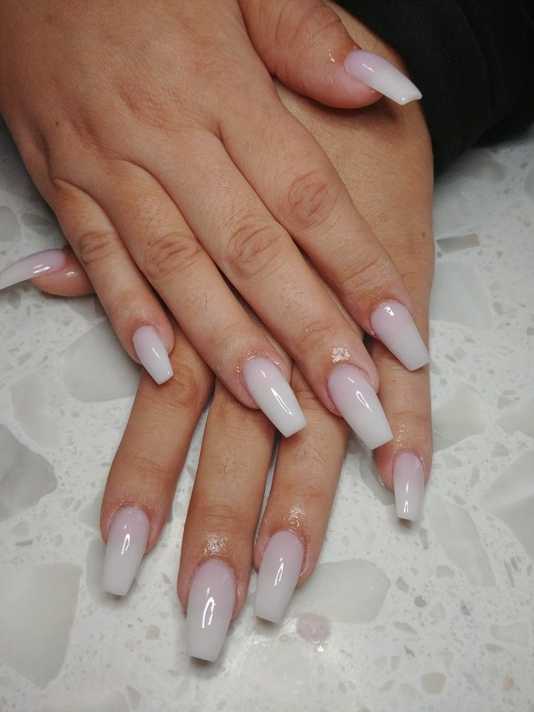 Ombre Milky Nails #nails #ombre | Nails in 2019 | White