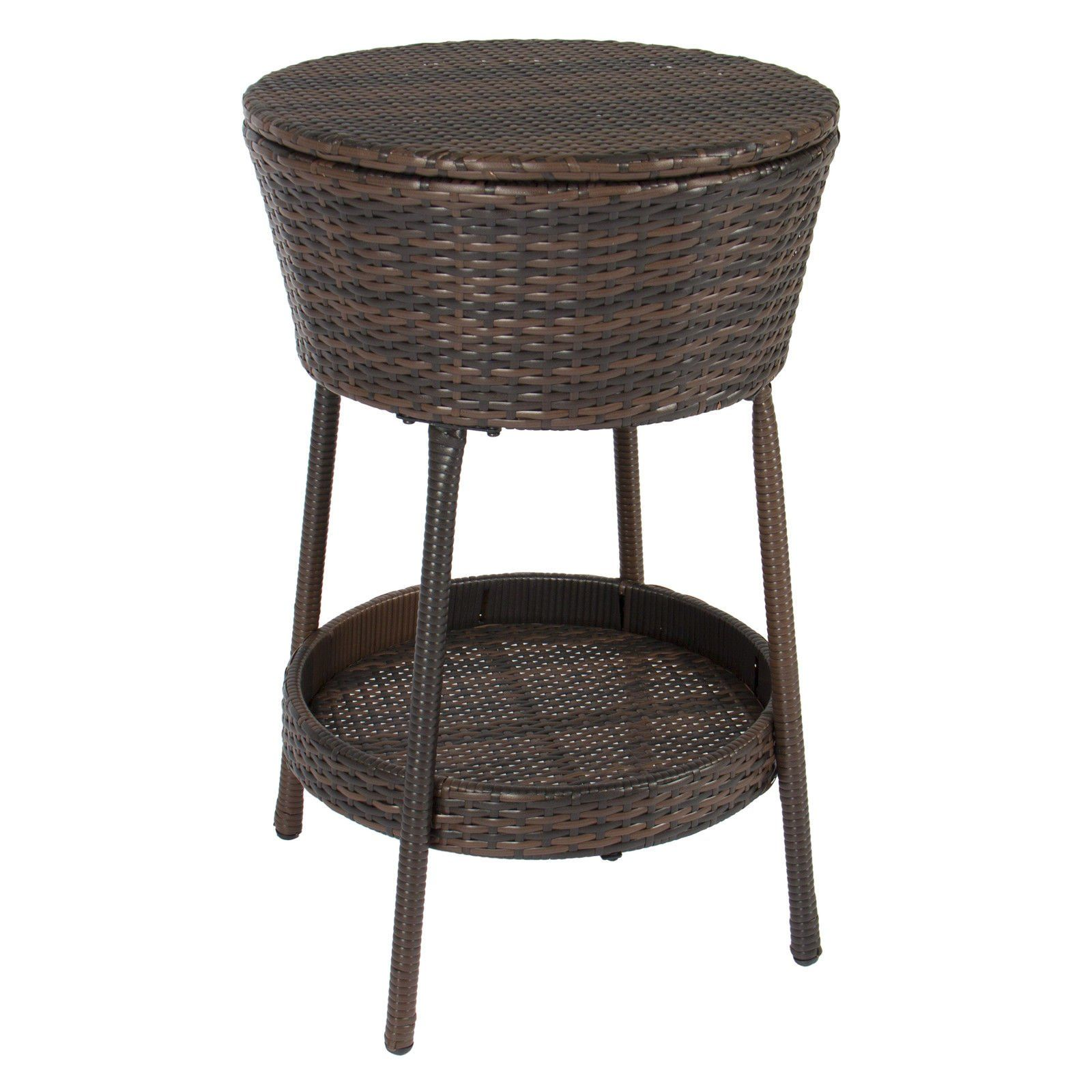 Wicker ice bucket outdoor patio allweather beverage cooler with tray