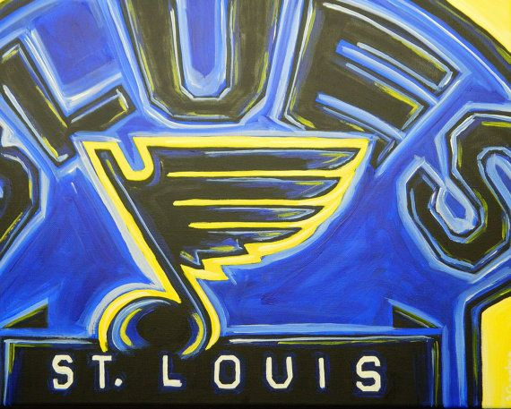 St Louis Blues Painting Sports Art Hockey By Crockerart On Etsy 50 00 Night Painting Sports Art Blue Painting