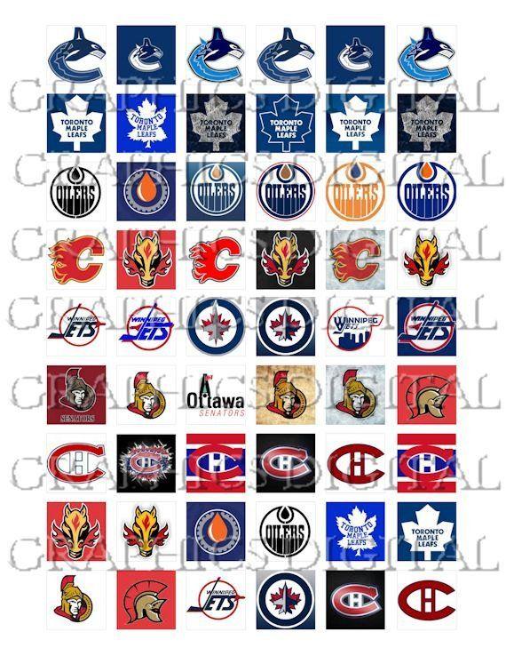 2cf3f262e NATIONAL HOCKEY LEAGUE Canadian Hockey Logos sports Digital Graphics  Download Digital Collage Sheet