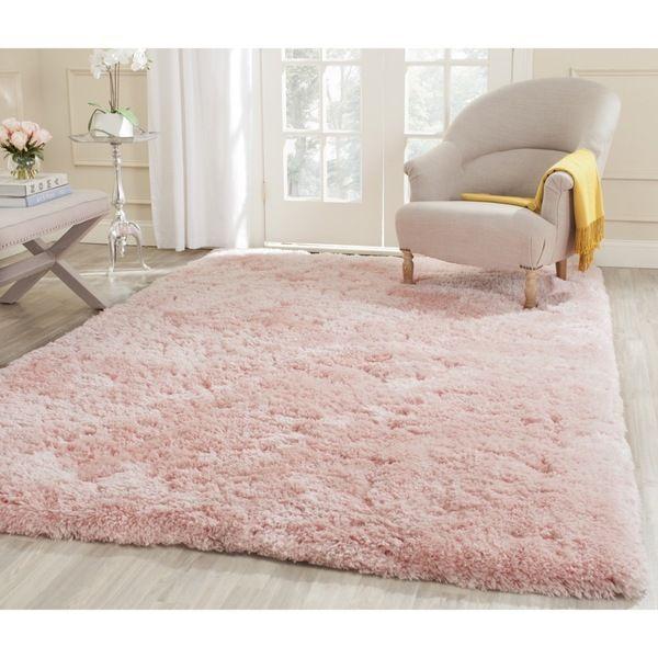 Safavieh Handmade Shag Pink Polyester Rug (7\'6 x 9\'6) - Overstock ...