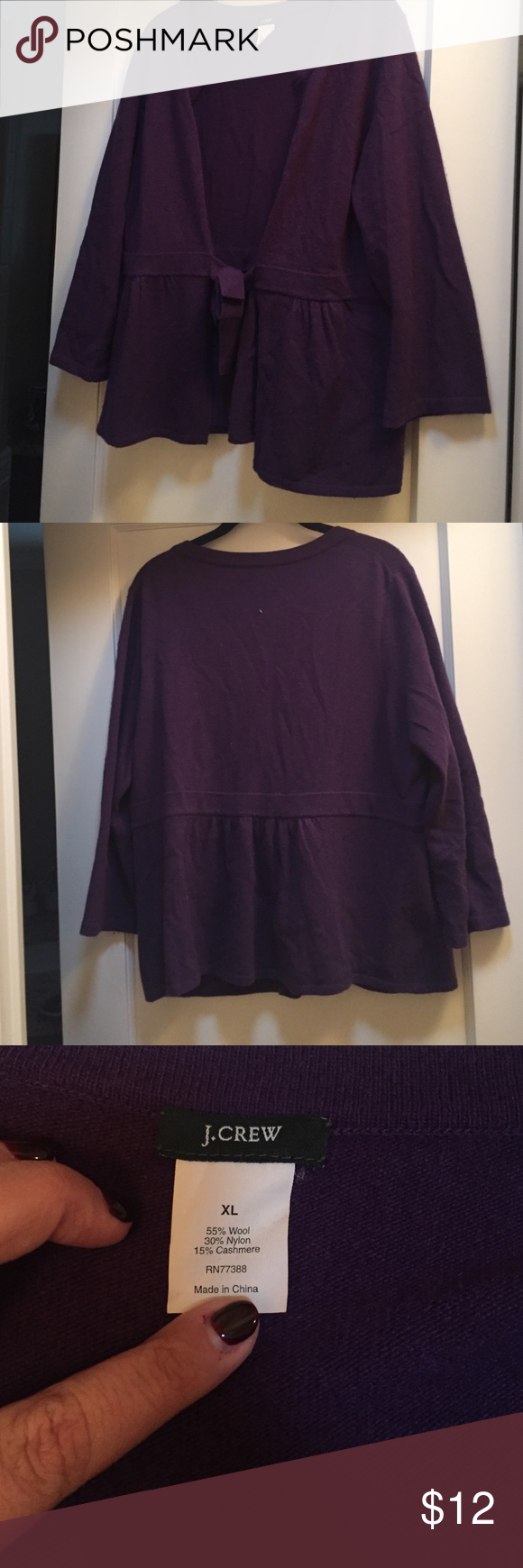 J Crew purple cardigan, XL Beautiful cardigan with tie. Excellent condition. J. Crew Sweaters Cardigans