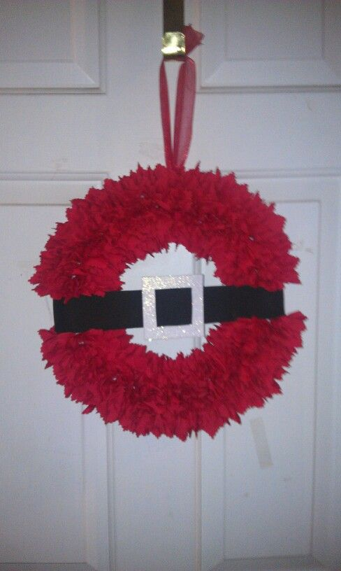 Santa Wreath, red squares poked into foam and belt made out of foam.