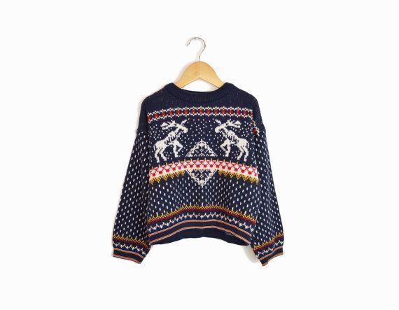 Vintage Children's Ugly Christmas Sweater   at Twig & Spoke Vintage #uglychristmassweater #reindeersweater