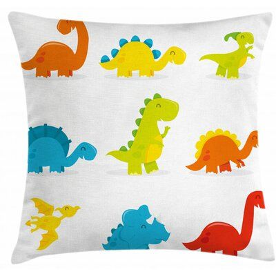 East Urban Home Ambesonne Dinosaur Throw Pillow Cushion Cover, Arrangement And Funny Dinosaurs Set Cartoon Style Colorful Kids Nursery Theme, Decorati #dinosaurnursery