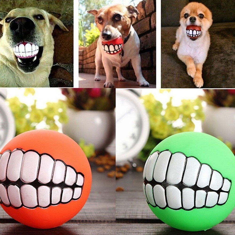 Dog Pet Pvc Ball Rubber Toy Squeaker Squeaky Sound Teeth Dogs Play