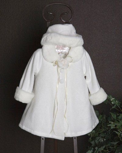 71f751f9d Baby girls cape jacket is fleece material with faux fur trim and a ...